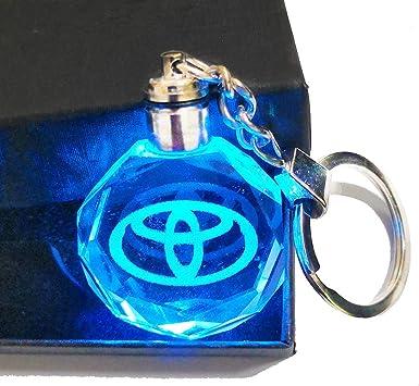 LED car logo keychain crystal light Color-changing car key Chain keyring Gift