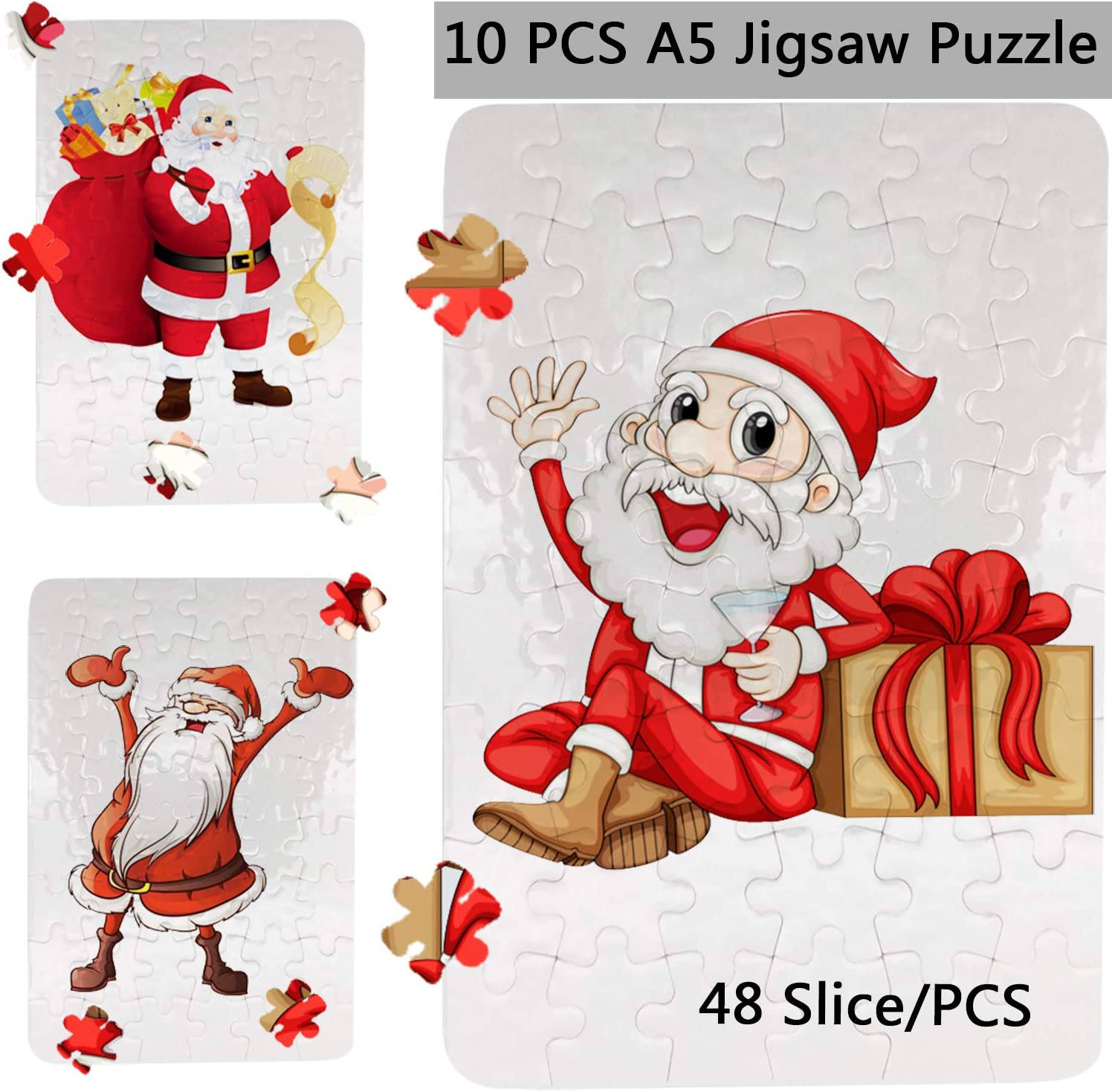 10 Sets Blank Sublimation A5 Jigsaw Puzzle with 48 Pieces DIY Heat Press Transfer Crafts A5 Thermal Transfer Puzzle Wholesale DIY Thermal Transfer Pearl Puzzle Blank Puzzle Thermal Transfer Supplies
