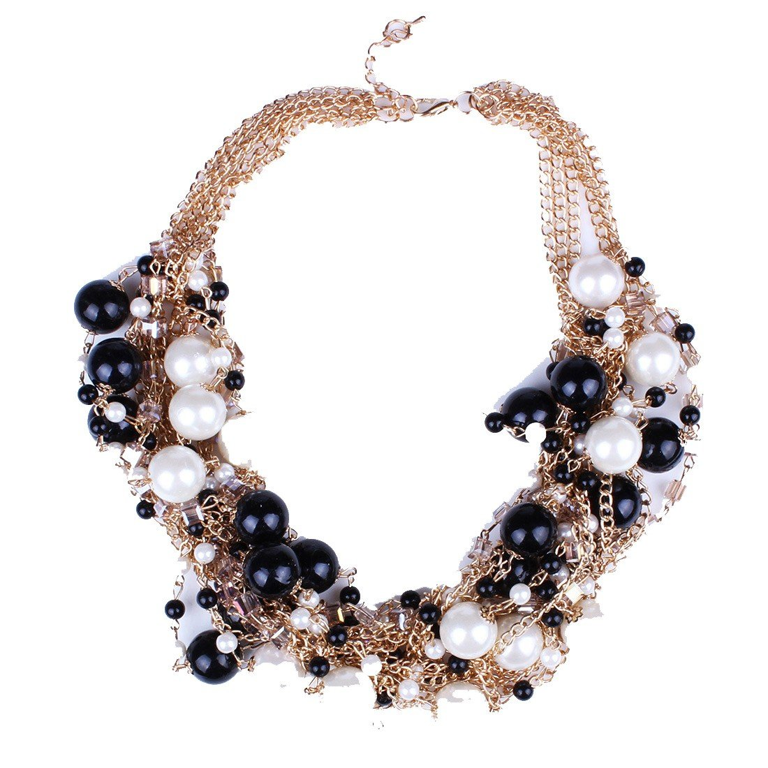 Qiyun Round Pearl Ball Beaded Golden Chain Linked Choker Necklace Ronde Boule De Perle D'Or Lie e Collier W005N2063