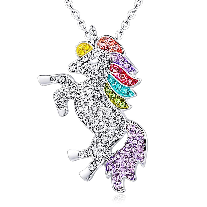 Collar con colgante de unicornio con cristales de Rainbow Rhinestone y rodio de alto pulido unicornio para niñas Unicorn Pendant Necklace Unicorn Necklace
