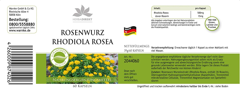 Extracto de Rhodiola rosea 500mg – 3% de rosavina – 60 cápsulas ...