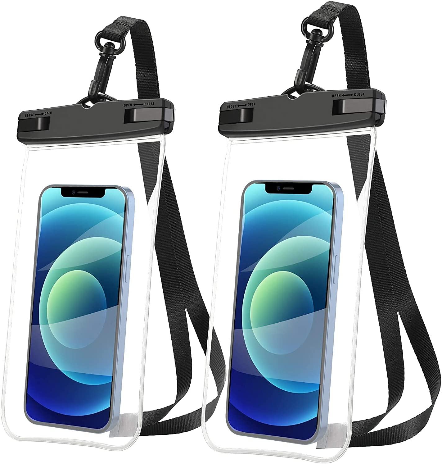 LENPOW Universal Waterproof Case, 2-Pack Clear IPX8 Waterproof Phone Pouch Lanyard Dry Bag for iPhone 12 11 Pro XS XR Max X 8 7 Plus Samsung Galaxy S21 S20 S10 Edge Note Google HTC OnePlus up to 6.9