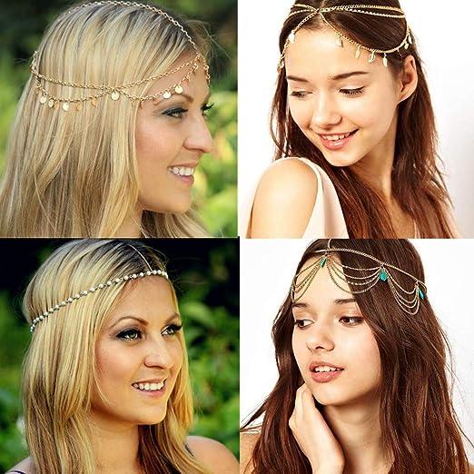 Amazon.com: 4 Pcs Gold Headband Jewelry, Turquoise Tassel Hair ...
