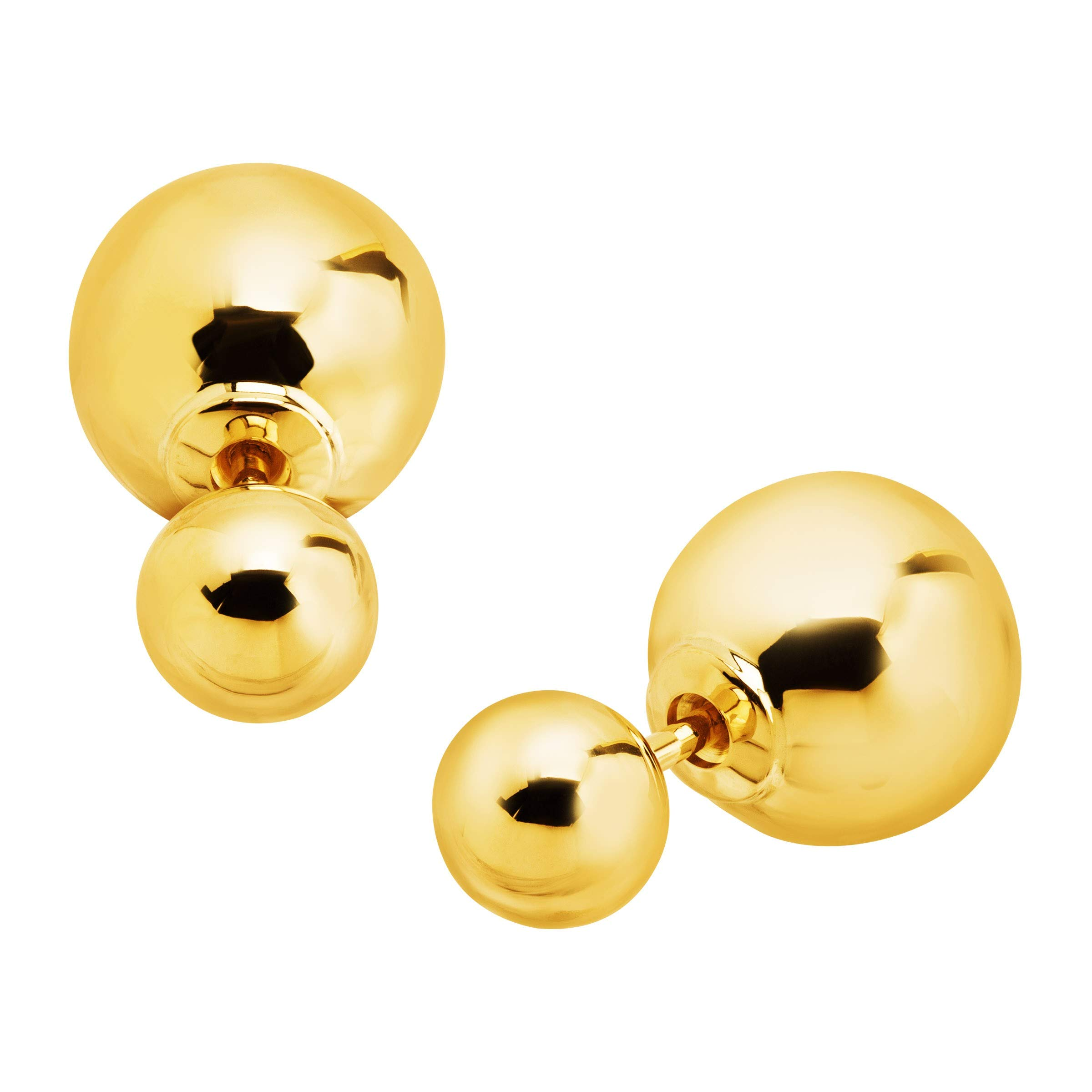 Eternity Gold Polished Double Ball Front-Back Stud Earrings in 14K Gold