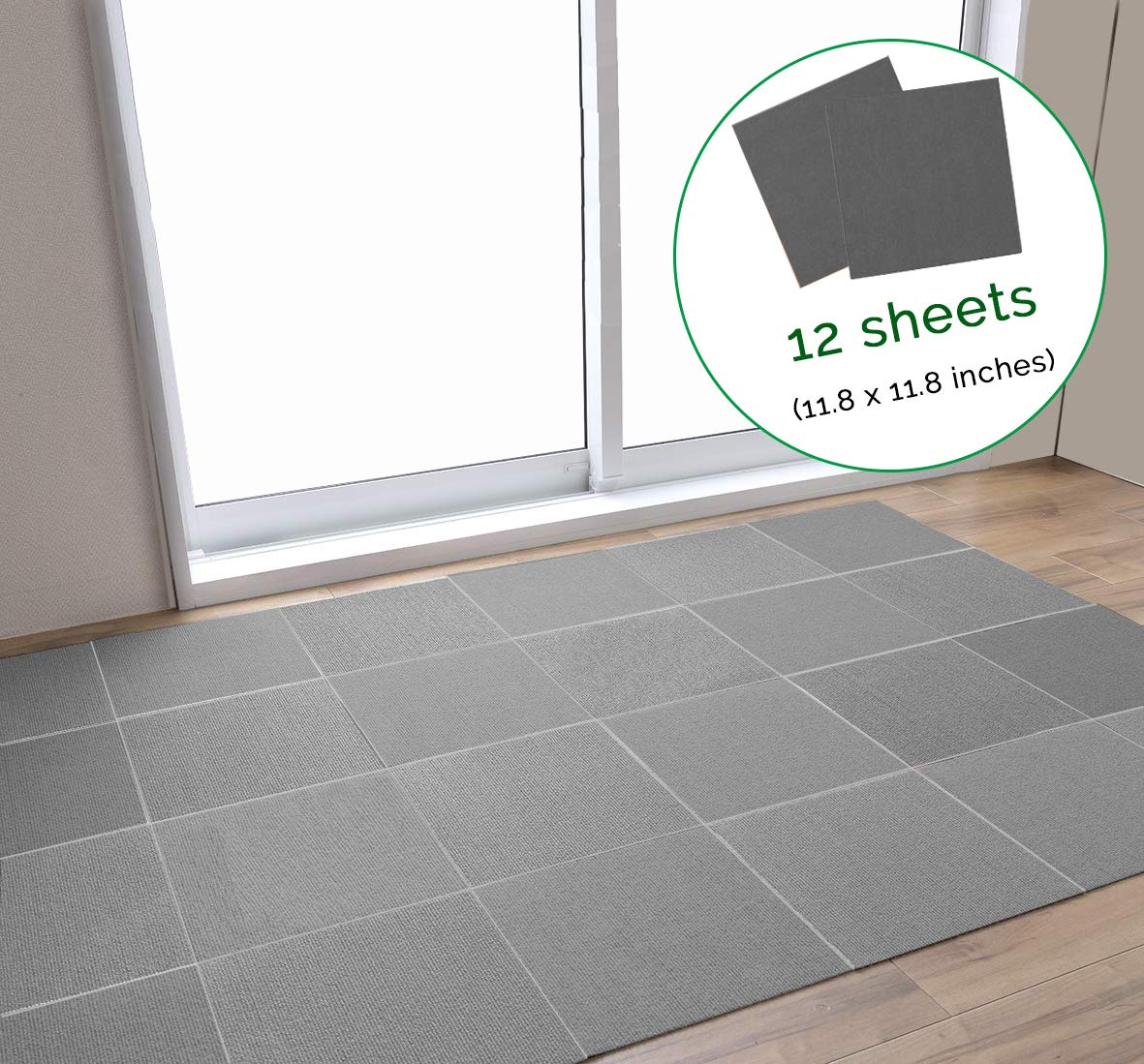 LOOBANI Non-Slip Treads Mat for Dogs and Pets, Self-Adhering Removable Washable Step Rugs Floor Protector for Skid Indoor Surfaces- Set of 12 (Grey)