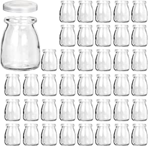 Glass Jars, KAMOTA 40 PACK 4oz Clear Yogurt Jars With PE Lids, Glass Pudding Jars Yogurt Jars Ideal for Jam, Honey, Wedding Favors, Shower Favors, Baby Foods (150ml)
