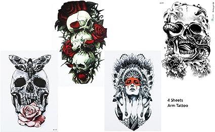4 hojas Skull Tattoo brazo tatuaje pegatinas rosas Calavera 4 ...