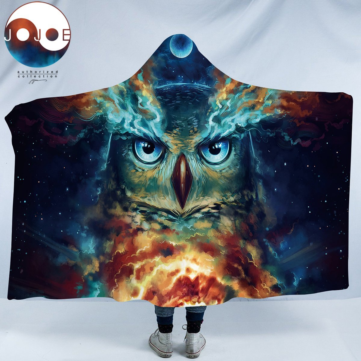 Nebowla by JoJoesArt Owl Hooded Blanket Moon Glow Owl Night Sky Sherpa Fleece Blanket Animal Snuggle Blanket for Kids Adults (60''x 80'')