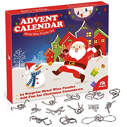 Christmas Brain Teasers For Adults.Coogam Metal Wire Puzzle Toys Advent Calendar 2019 Christmas Countdown Calendar Decoration Gift Box Set Of 24pcs Brain Teaser Toy For Count Down Xmas
