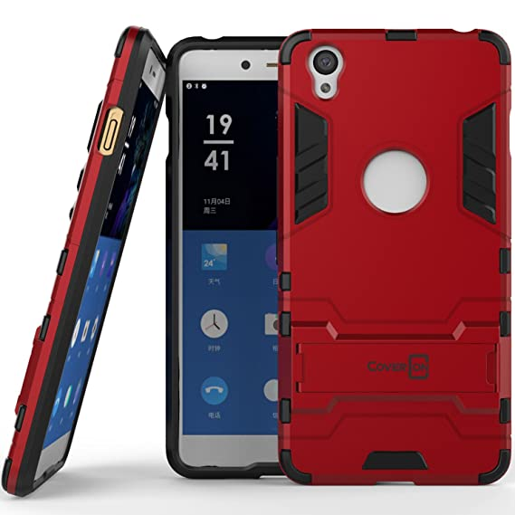 size 40 a56e7 d3a69 OnePlus X Case, CoverON [Shadow Armor Series] Hard Slim Hybrid Kickstand  Phone Cover Case for OnePlus X - Red & Black