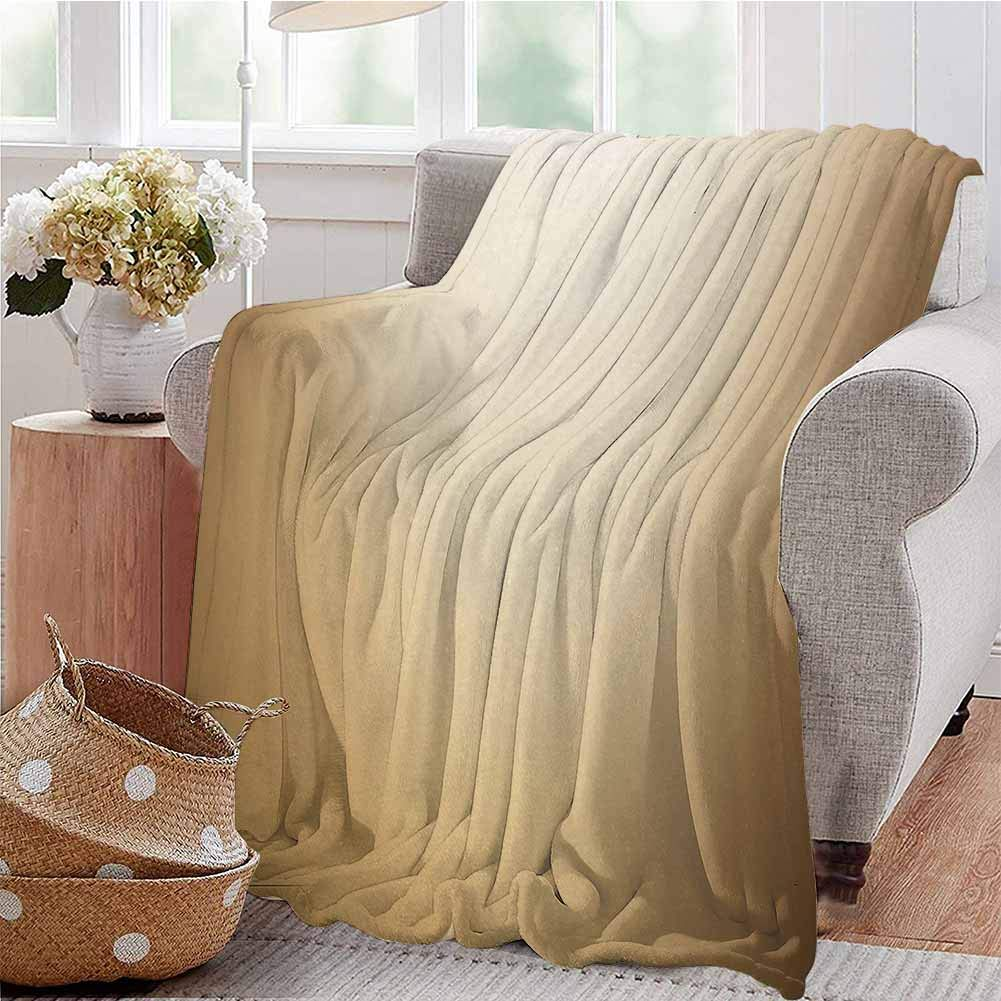 SSKJTC Travel Throw Blanket Abstract Gradient Display Soft Golden Brown Colored Plain Modern Digital Print Pale Brown Tan Livingroom Couch Bed Camping Picnic W59 xL71