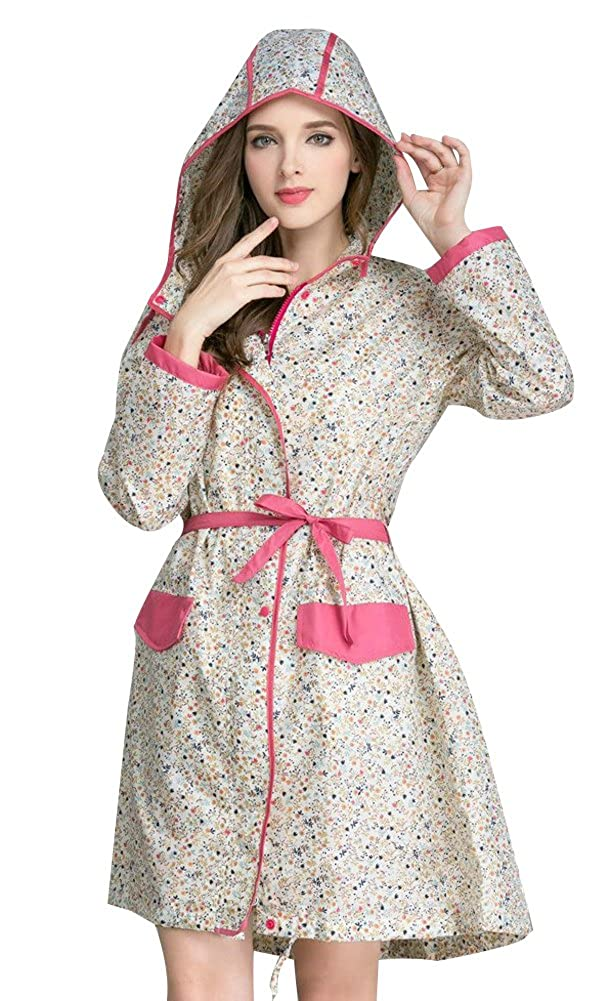 OVOV Women\'s Stylish Dot Belted Hiking Rain Jacket with Butterfly Bow Hood 1688