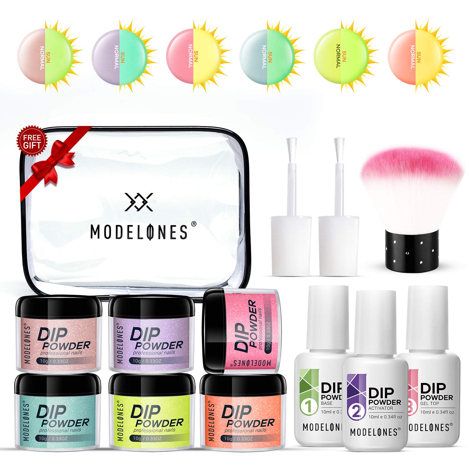 Dipping Powder Nail Starter Kit 6 Colors,Fluorescent Dip Powder System Starter Nail Kit Luminous Acrylic Dipping System for French Nail Manicure nail art Set Essential kit,Portable Kit for Travel by modelones