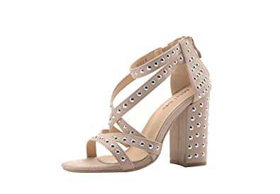 596527f26dc Ashley A Collection (Ursula Women s Glamorous Platform Strappy with Studs  Embellishment Block Chunky Heels