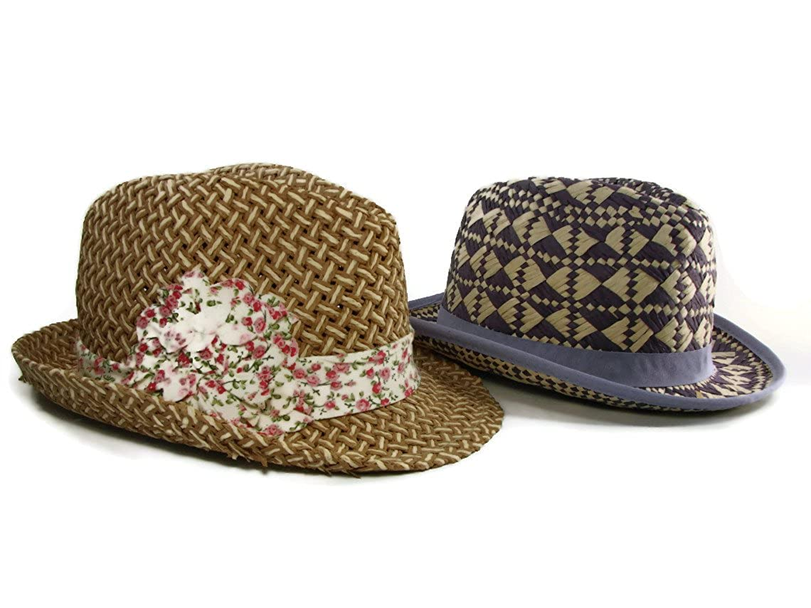 M Style Lab Junior Women/'s Set of 2 Paper Straw Fedora Hat Band One Size
