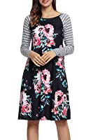 HOTAPEI Women's Floral Print Casual Long Sleeve A-line Loose T-shirt Dresses Knee Length
