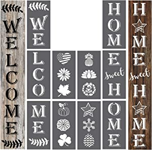 Welcome | Home Sweet Home Sign Stencils Templates Decor for Porch Front Door of Home or Hotle Store, for Season, Birthday Party, Easter, 4th of July, Halloween, Thanksgiving, Christmas