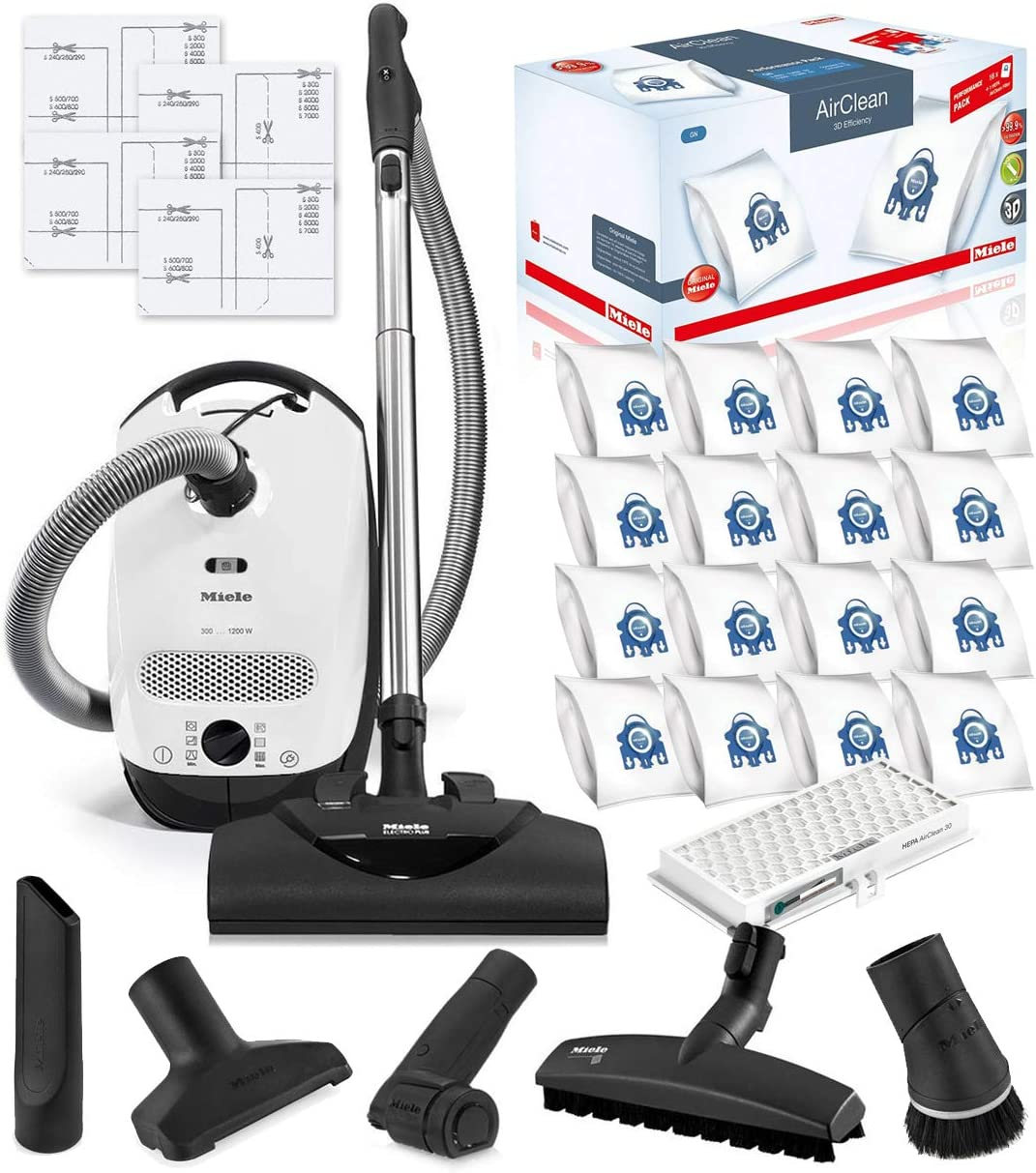 Miele Classic C1 Cat and Dog Canister HEPA Vacuum Cleaner with SEB228 Powerhead Bundle - Includes Miele Performance Pack 16 Type GN AirClean Genuine FilterBags + Genuine HEPA Filter