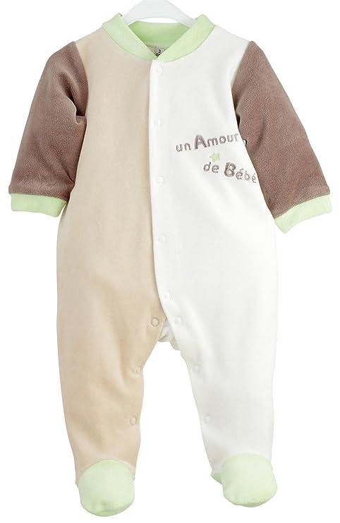 92d47d73cba7f Kinousses Dors Bien Grenouillère Pyjama pour Bébé en Velours Motif Un Amour  de Bébé Chocolat 6