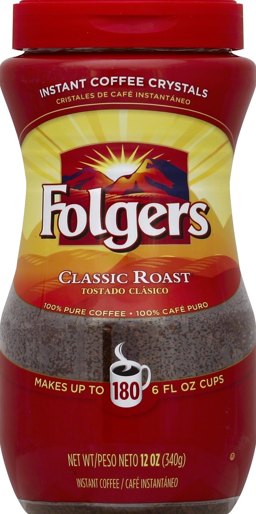 Folgers Classic Roast Instant, 12 Ounce (Pack of 6) by Folgers