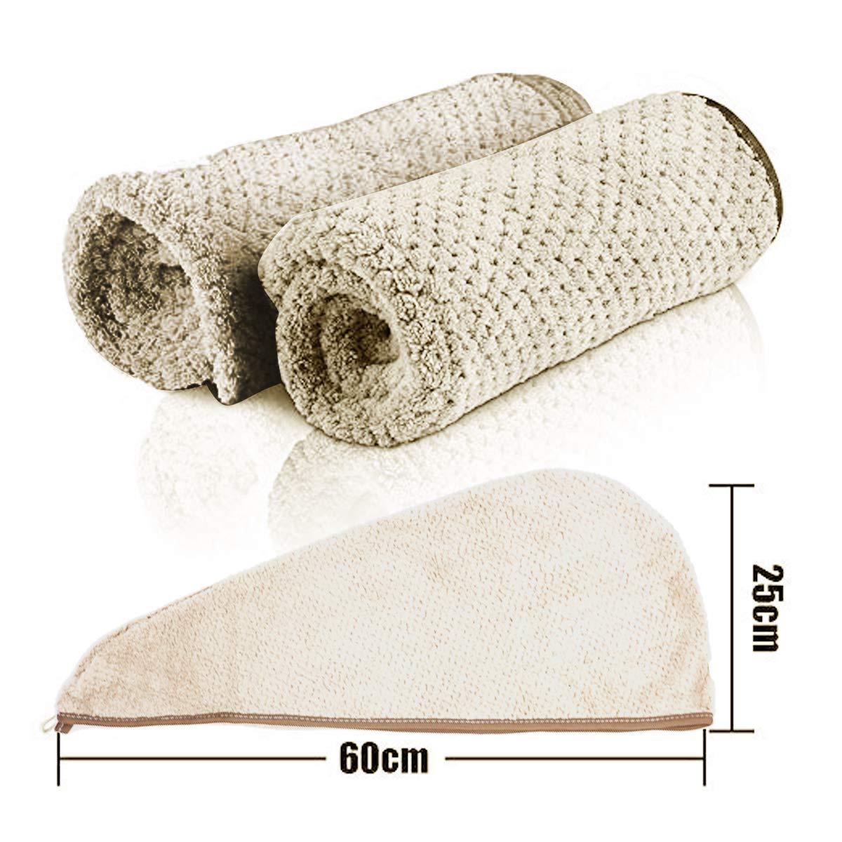 Pelo Turbante Toalla Wrap Caqui KiraKira Toallas de Ba/ño 2 pcs Turbante con Bot/ón Toalla Turbante de Microfibra Absorbente para un r/ápido Secado de Pelo