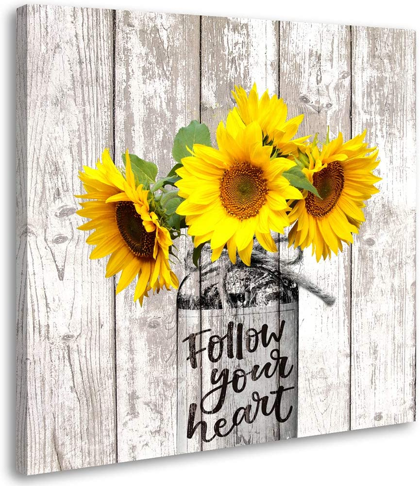 Sunflower Decor Rustic Home Kitchen Bathroom Country for The Home Farmhouse Cottage Countryside Wall Modern Gallery In Vase Canvas Wall Art Prints 12x12 inch