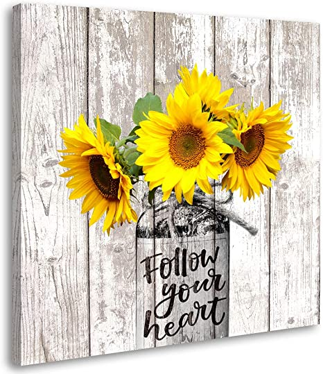 Amazon Com Sunflower Decor Rustic Home Kitchen Bathroom Country For The Farmhouse Cottage Countryside Wall Modern Gallery In Vase Canvas Art Prints 12x12 Inch Posters