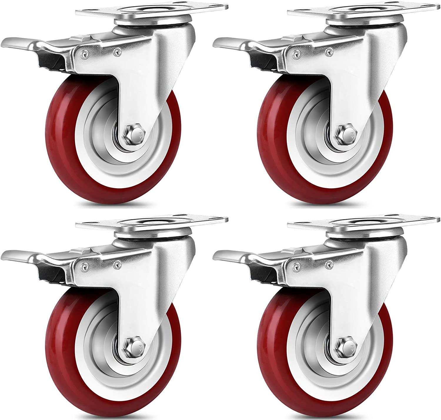SPACECARE 4 Inches Swivel Caster Wheels, 1360Lbs with 360 Degree Heavy Duty Swivel Locking Casters with Brake Set of 4, No Noise Swivel Plate Castors