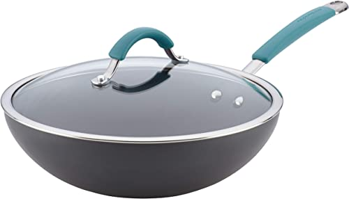 Rachael Ray Cucina Hard Anodized Nonstick Stir Fry Wok Pan with Lid