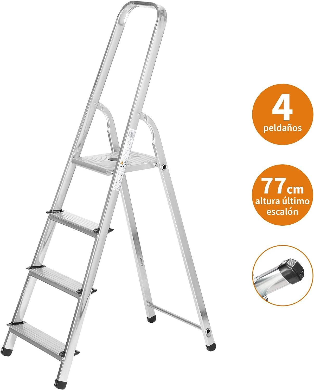 Escaleras Plegables Aluminio 4 Peldaños de Tijera Super Resistente hasta 150Kg, Acero y Aluminio Antideslizantes, Altura de Trabajo hasta 280cm | Packer PRO: Amazon.es: Bricolaje y herramientas