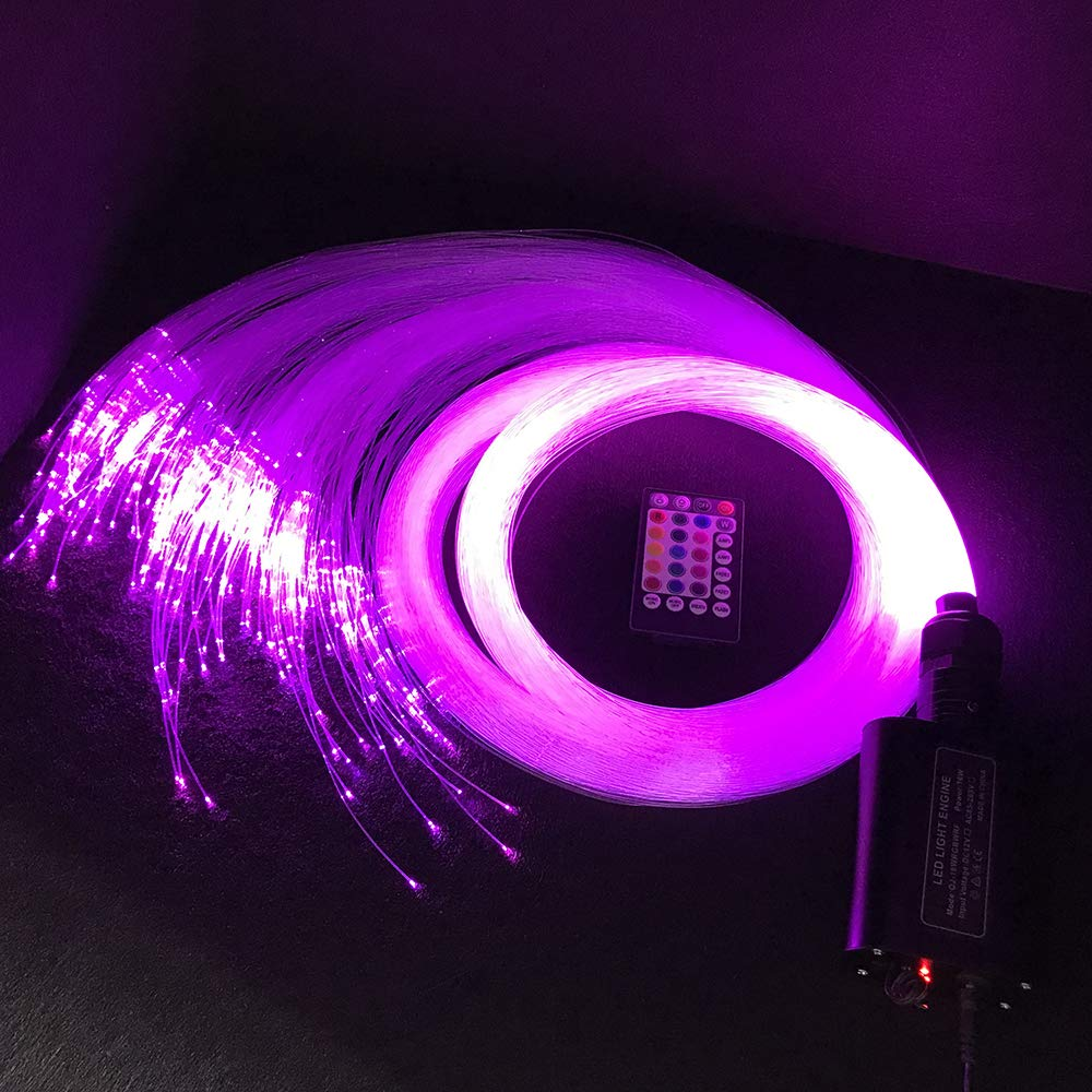 Ninth-Mart LED Fiber Optic Star Ceiling Light Kit for Car or Room, 16W RGBW Music Mode Sound Sensor, 28 Keys Remote Controller, Mixed 360PCS, 0.03in+0.04in+0.06in, 9.8ft Long