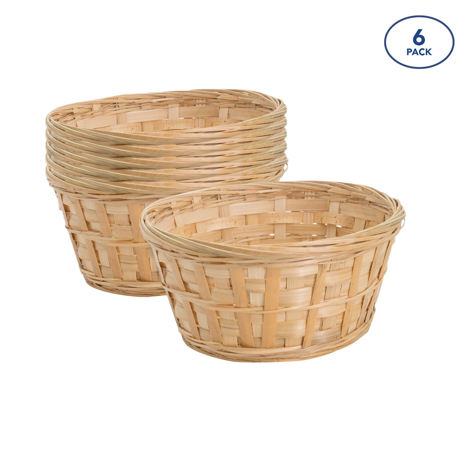 Royal Imports 8'' Round Natural Bamboo Handwoven Bread Basket 4''x8'' Braided Rim, Pack of 6