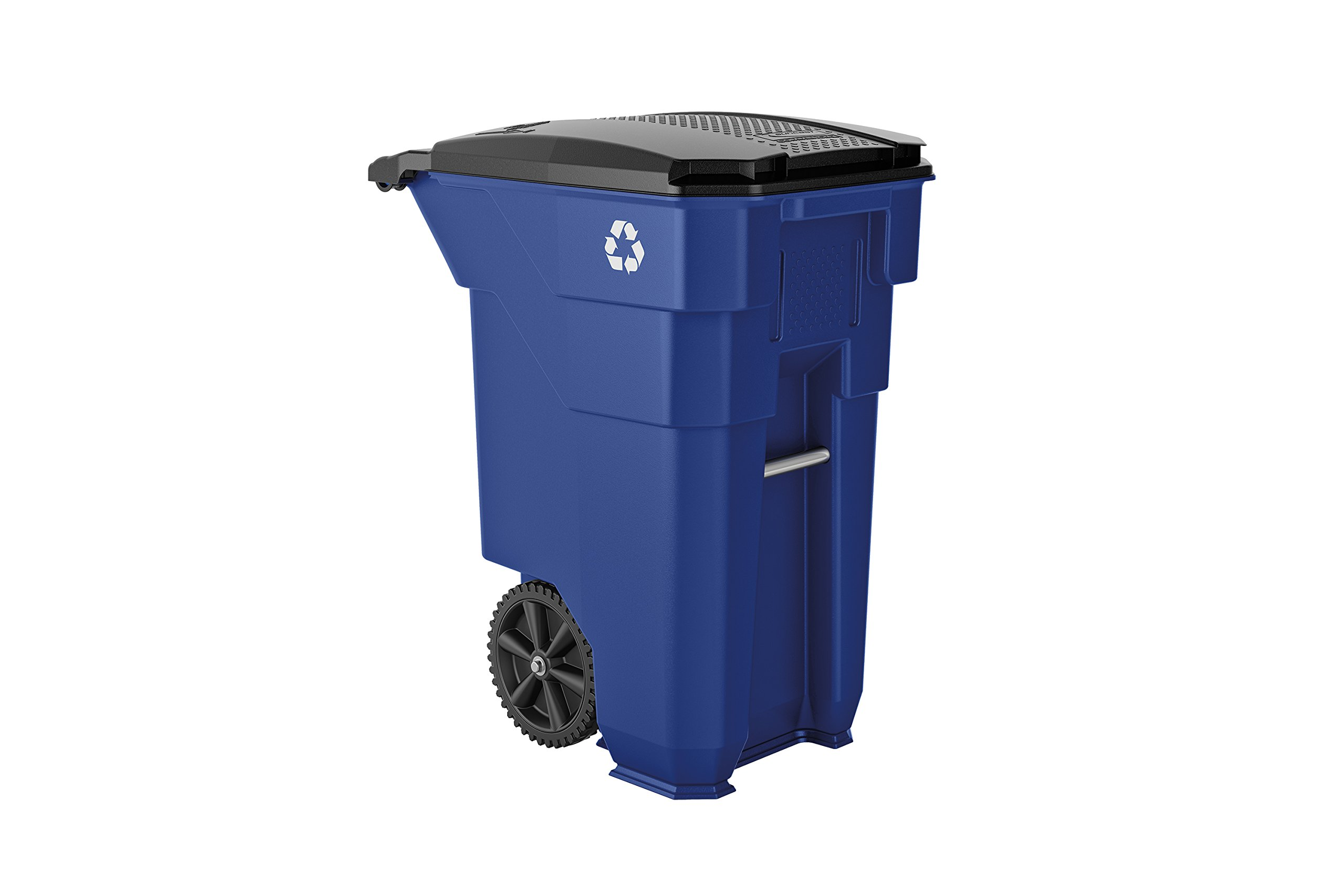 Suncast Commercial BMTCW50BLR Wheeled Trash Can, Recycle Logo, 50 gal, Blue