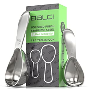 BALCI- Stainless Steel Coffee Scoop Set (1&2 Tablespoon, 15ml and 30ml) EXACT Measuring Spoons for Coffee, Tea, Sugar, Flour and More!