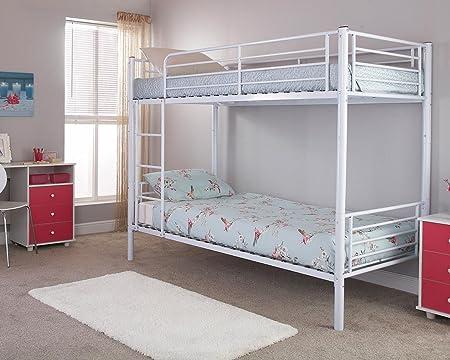 White Metal Tubular 3ft Single Twin Bunk Bed Amazon Co Uk Kitchen