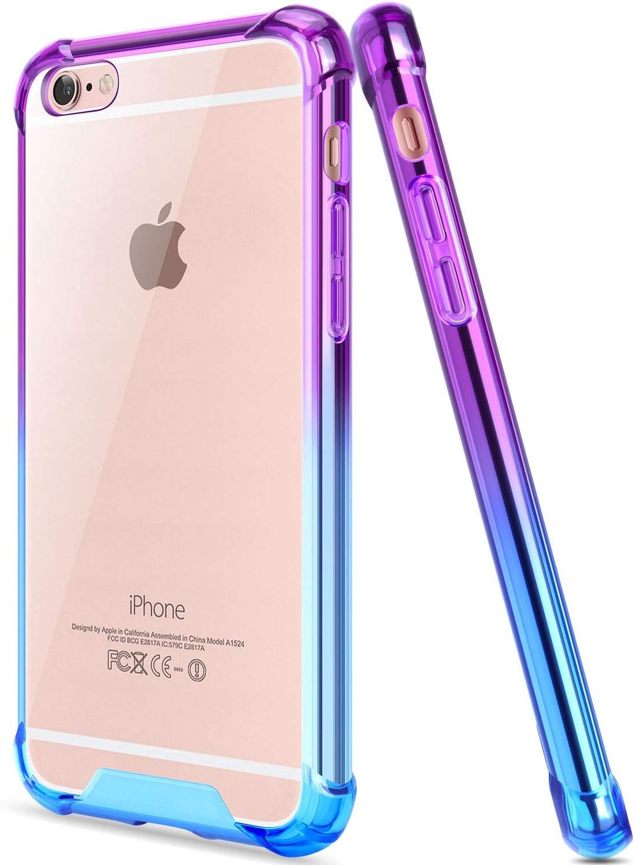 SALAWAT for iPhone 6 Plus Case, Clear iPhone 6s Plus Case Cute Anti Scratch Slim Phone Case Cover Reinforced TPU Bumper Shock Absorption Protective Case for iPhone 6/6s Plus 5.5inch (Blue Purple)