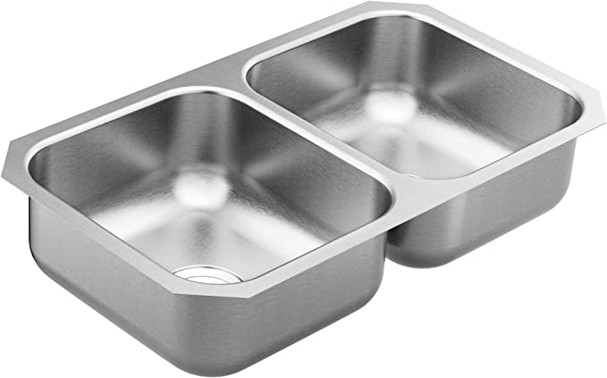 Burnished brushed stainless steel double bowl kitchen sink with drainer r10 mm