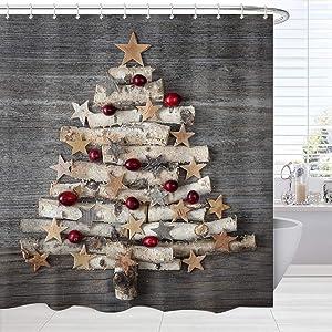BROSHAN Grey Christmas Bathroom Shower Curtain, Xmas Tree on Rustic Wooden Christmas Bath Curtain, Christmas Design Shower Curtain Set with Hooks, 72 x 72