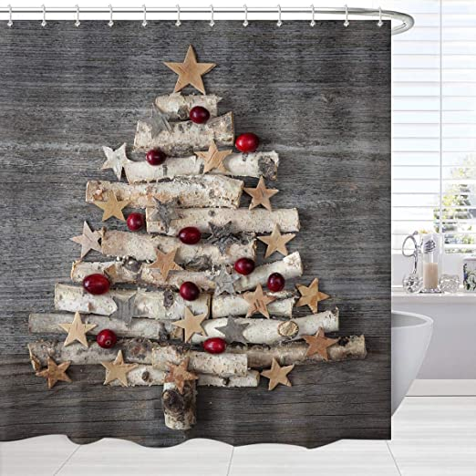 Amazon Com Broshan Grey Christmas Bathroom Shower Curtain Xmas Tree On Rustic Wooden Christmas Bath Curtain Christmas Design Shower Curtain Set With Hooks 72 X 72 Kitchen Dining