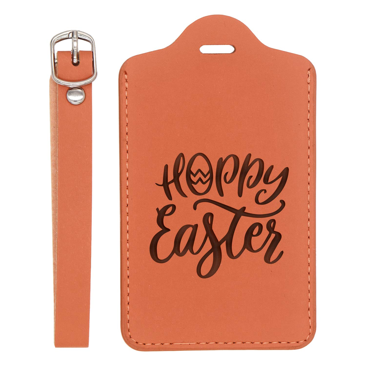Easter 3 Engraved Synthetic Pu Leather Luggage Tag Handcrafted By Mastercraftsmen For Any Type Of Luggage - United States Standard London Tan - Set Of 2