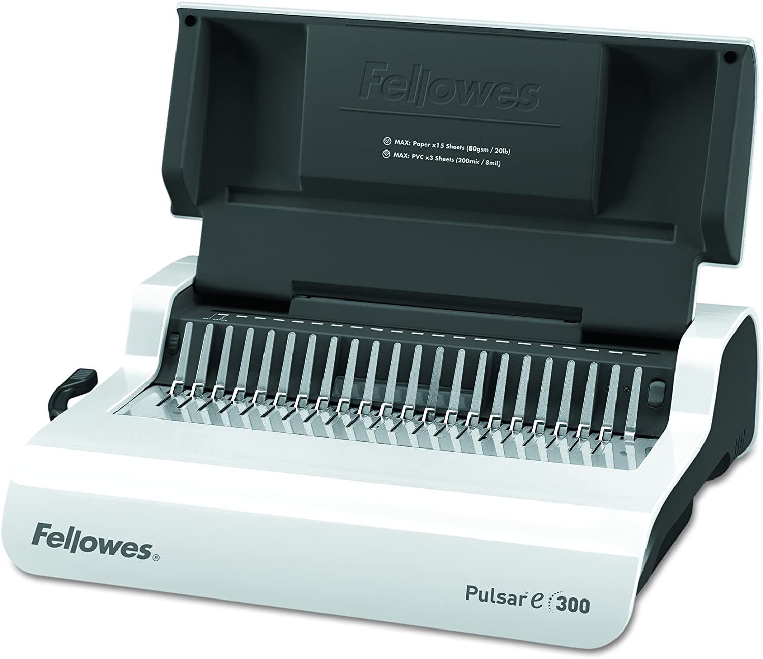 Fellowes 5216701 Pulsar Electric Comb Binding System 17 x 15 3//8 x 5 1//8 White 300 Sheets