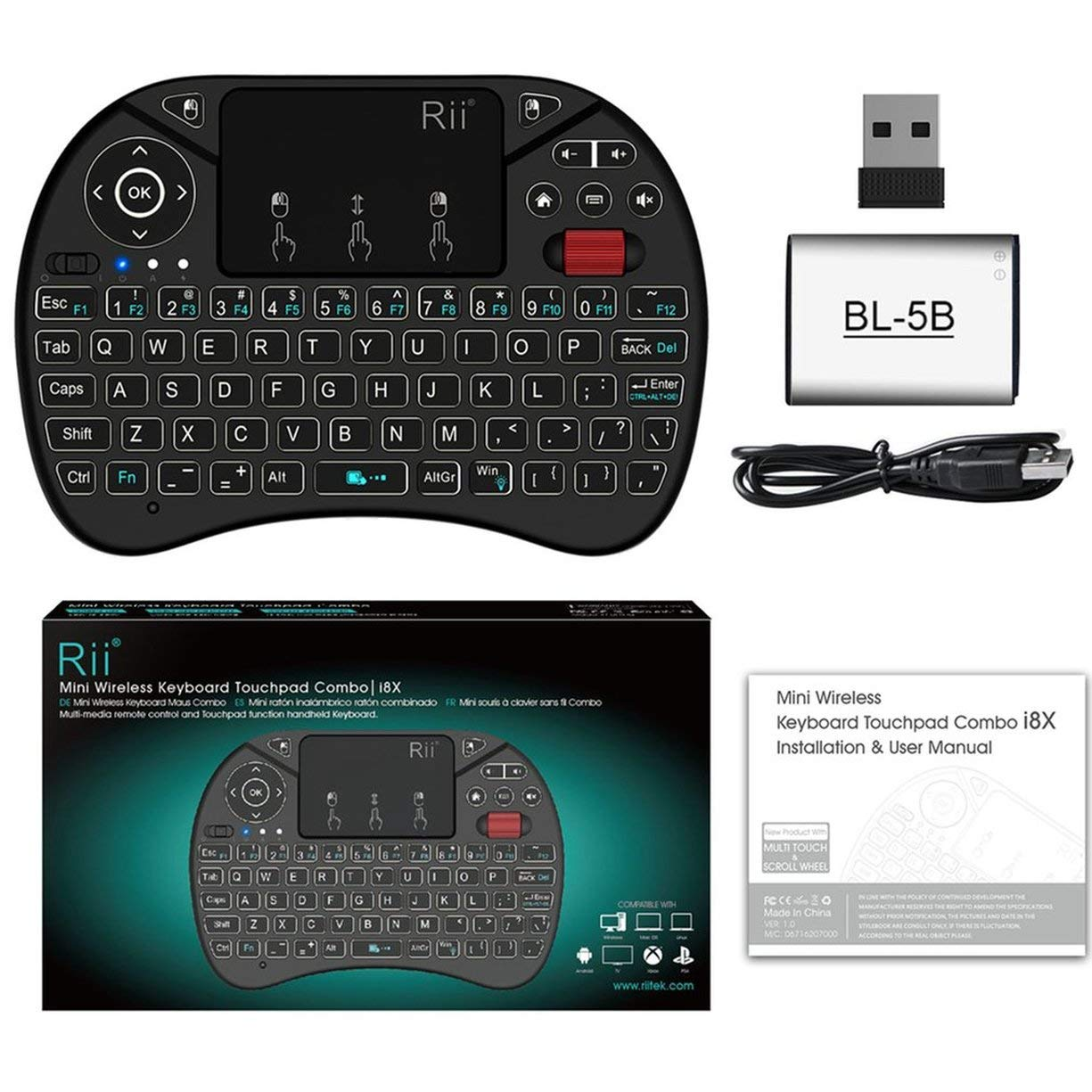 Amazon.com: Rii i8X Mini 2.4G Wireless Keyboard Touchpad Combo with Backlight Scroll Wheel Multimedia Fly Mouse for PC for Smart TV Box: Computers & ...
