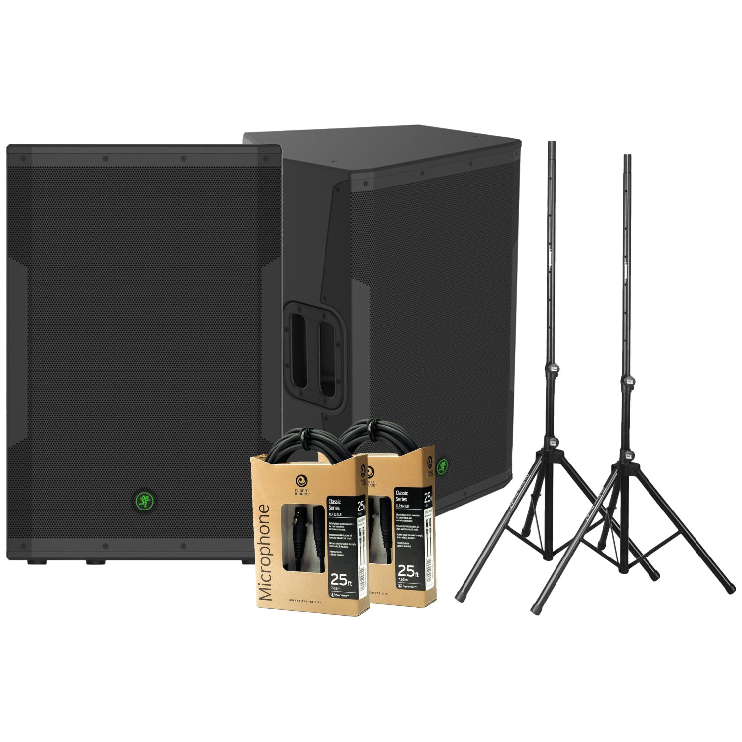 2 Mackie SRM650 Powered Speakers (1600 Watts, 1x15'') w/ 2 Stands and 2 XLR Cables