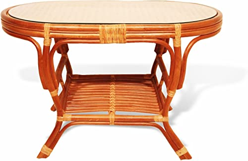 SunBear Furniture Pelangi Coffee Oval Table with Glass Top Natural Rattan Wicker ECO Handmade Design, Cognac