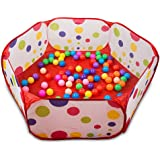 QIYO(TM) Portable Cute Hexagon Polka Dot Kids Playpen Ball Pit Indoor and Outdoor Easy Folding Play House Children Toy Play Tent with Tote Bag for Kids Gifts