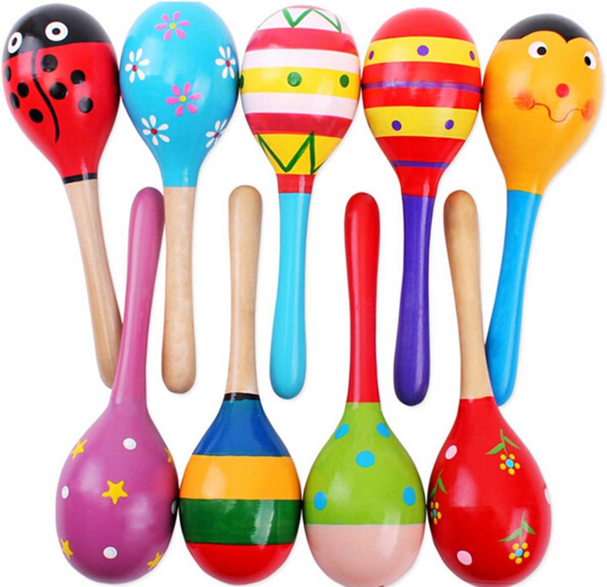 Tinksky 2pcs 11,5 Cm Bambini Funny Kids In Legno Maracas Sonaglio Giocattoli Educativi Musicali Shakers Colore Casuale