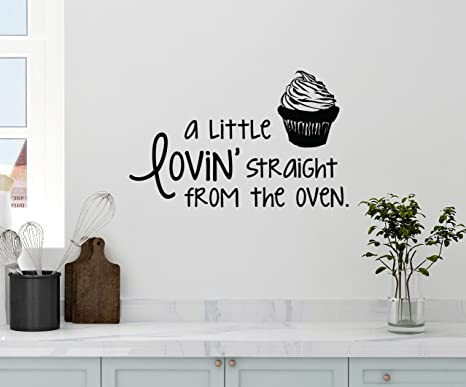 Amazon Com 24 X14 A Little Lovin Straight From The Oven Baking Back Cupcake Cake Kitchen Wall Decal Sticker Art Mural Home Decor Home Kitchen
