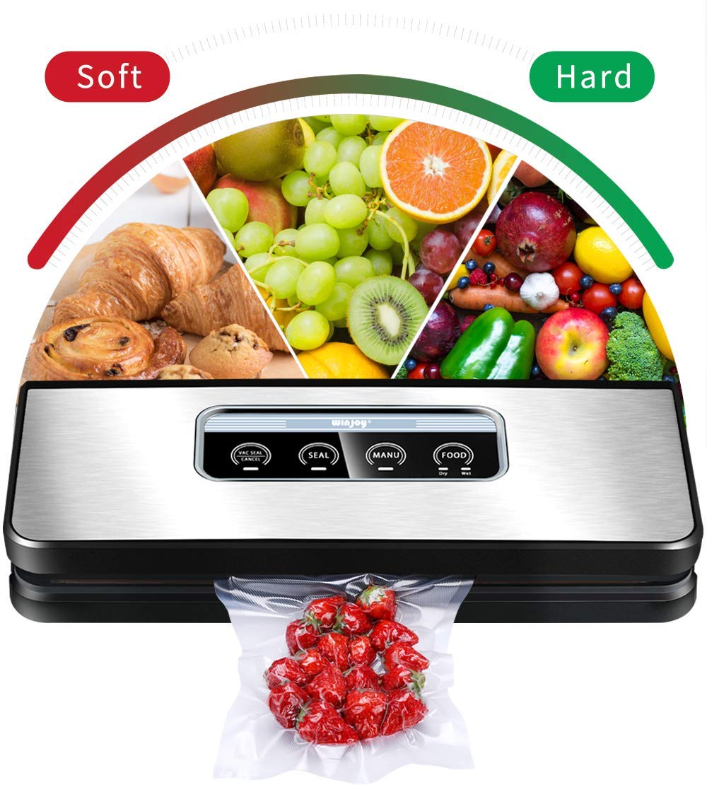 Vacuum Sealer Machine, Winjoy Automatic Food Sealer for Food Savers Starter Kit Touch Pannel and LCD Display Dry Moist Food Modes Compact Design Silver