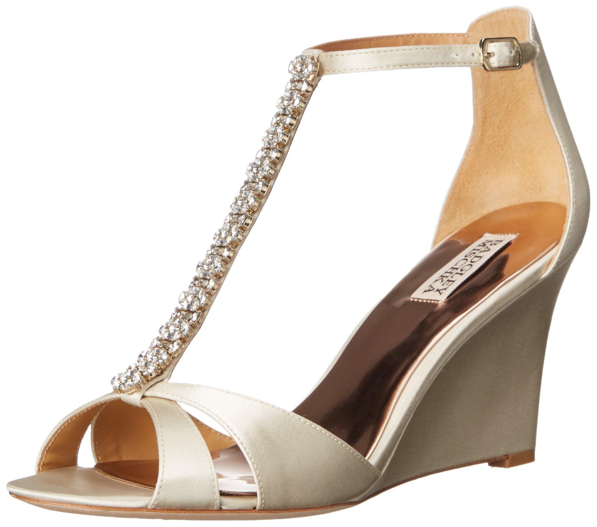 Badgley Mischka Women's Romance Wedge Sandal, Ivory, 7.5 M US