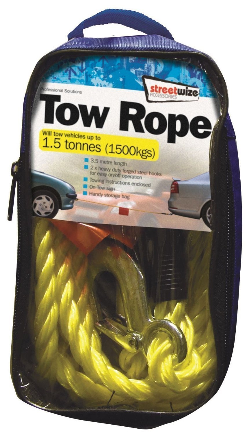 Yellow Heavy Duty Braided Tow Rope with 2 Metal S Hooks 3 t